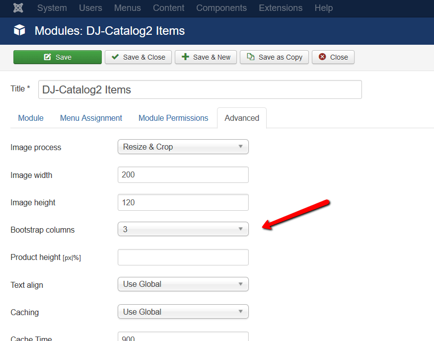 DJ Catalog Items Module columns1